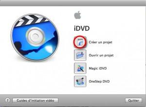 Ecran d'accueil iDVD montage video