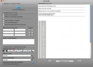 Interface de PrintFinder pour imprimer directement le contenu d'un dossier sous Mac